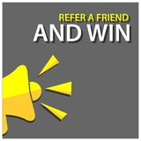 Refer a friend and win with megaphone. Flat vector illustration on gray background. EPS file available. see more images related royalty free illustration