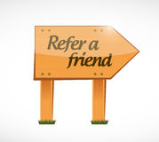 Refer a friend wood sign concept Stock Photo
