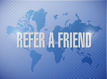 Refer a friend world map sign concept illustration Royalty Free Stock Photo