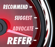 Refer Suggest Advocate Recommend Speedometer Royalty Free Stock Photography