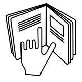 Refer to insert symbol used on cosmetics products. Sign displaying hand pointing to text in open book meaning read instructions. stock illustration