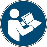 Refer to instruction manual booklet - mandatory sign iso 7010.  vector illustration