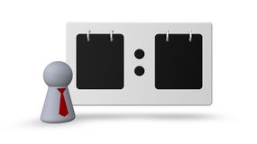 Referee. Scoreboard and play figure with tie  on white background - 3d illustration Royalty Free Stock Images