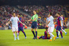 Referee. In action at Spanish League match between FC Barcelona and Celta de Vigo, final score 0-1, on November 1, 2014, in Camp Nou stadium, Barcelona, Spain Royalty Free Stock Images