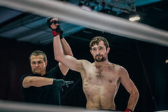 Referee announces winners of athlete of fight Royalty Free Stock Photography