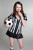 Referee Blowing Whistle Stock Photo