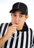 Referee: Blowing Whistle For Penalty Call Royalty Free Stock Image