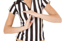 Referee body time out. A close up of a woman calling a time out in her referee shirt Stock Photo