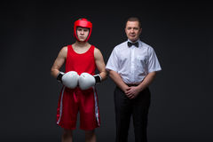 Referee and boxing sportsman Stock Images