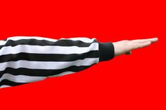 Referee decision - direction. Sports referee point handl. Referee decision concept Stock Photo