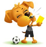 Referee dog shows yellow card. Violation of rules when playing soccer. Isolated on white vector cartoon illustration stock illustration