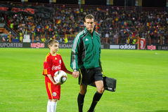 Referee at football game. The referee Robert Schorgenhofer (AUT) at beginning of the match between Romania and Albania (Qualifying Round, UEFA European stock photo