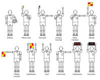 Referee football signals icon set. Royalty Free Stock Image