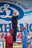 Referee gesture. MOSCOW - NOVEMBER 2, 2016: Unidentified referee gesture on game Dynamo MSK vs Dynamo KZN on Russian National wemen Volleyball tournament on Royalty Free Stock Photography