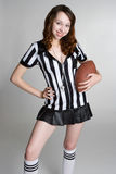 Referee Girl Holding Football Stock Images