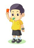 Referee give a card cartoon vector illustration Stock Images