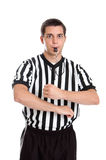 Referee giving traveling sign. A teenage referee giving sign for traveling isolated on white Stock Photo