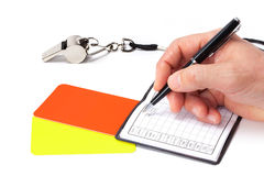 Referee Hand And Accessories Stock Photo