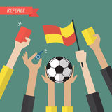 Referee hand holding a soccer icons Stock Images