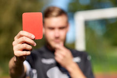 Free Referee Hands With Red Card On Football Field Stock Photos - 88724823