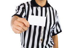 Referee: Holding Out Blank Business Card Royalty Free Stock Photos