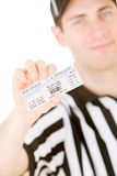 Referee: Holding Up Pair of Tickets Stock Image