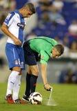 Referee Iglesias Villanueva marks with a Vanishing spray Royalty Free Stock Photography