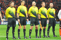 The referee listen anthem Stock Photography