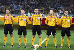 Referee Milorad Mazic and his assistants before football game Royalty Free Stock Images