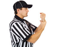 Referee: Official Signals Holding Penalty Call Stock Photo
