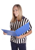 Referee playbook smile Stock Image