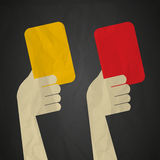 Referee red yellow cards Royalty Free Stock Photos