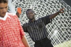 Referee Showing Red Card Royalty Free Stock Photography
