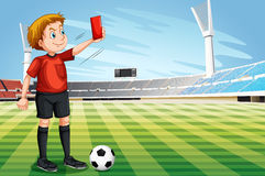 Free Referee Showing Red Card In The Football Field Royalty Free Stock Images - 72690789