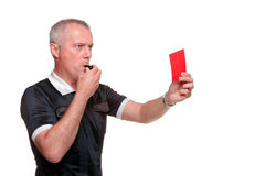 Referee showing the red card side profile Stock Photos