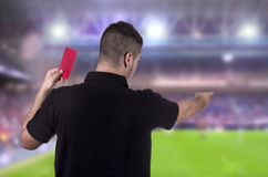 Referee showing the red card Stock Photos