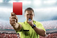 Free Referee Showing The Red Card In The Soccer Stadium Royalty Free Stock Photo - 109943815
