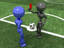 Referee shows a red card to the Playe №2 Stock Photos