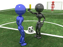 Referee shows a  yellow card to the Player  №2 Stock Photos