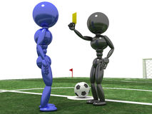 Referee shows a  yellow card to the Player №1 Stock Image