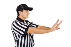 Referee: Side View Of Pass Interference Call Royalty Free Stock Photography