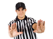 Referee: Signalling Pass Interference Call Royalty Free Stock Photography