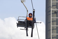Referee on ski-lift Royalty Free Stock Photos