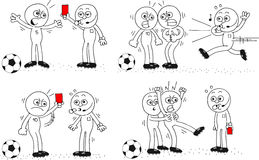 Referee and Soccer Player Set. Cartoon sketch referee and soccer players. Four cartoons. Red card, arguing and running, red card to referee, placating his angry Royalty Free Stock Photo