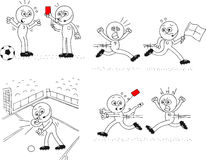 Referee and Soccer Player Set. Cartoon sketch referee and soccer players. Four cartoons. Red card, running after referee and giving penalty Stock Images
