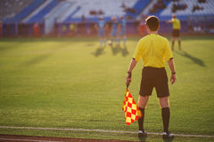 Referee soccer. referee is on the field. Football in Russia Stock Image