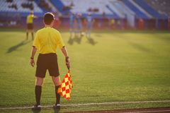 Referee soccer. referee is on the field Royalty Free Stock Image