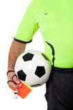 Referee with Whistle Cards and Ball Royalty Free Stock Image