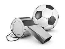 Whistle and soccer ball. Referee whistle and soccer ball. 3d rendering vector illustration