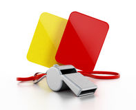 Referee whistle, yellow and red cards Royalty Free Stock Photo